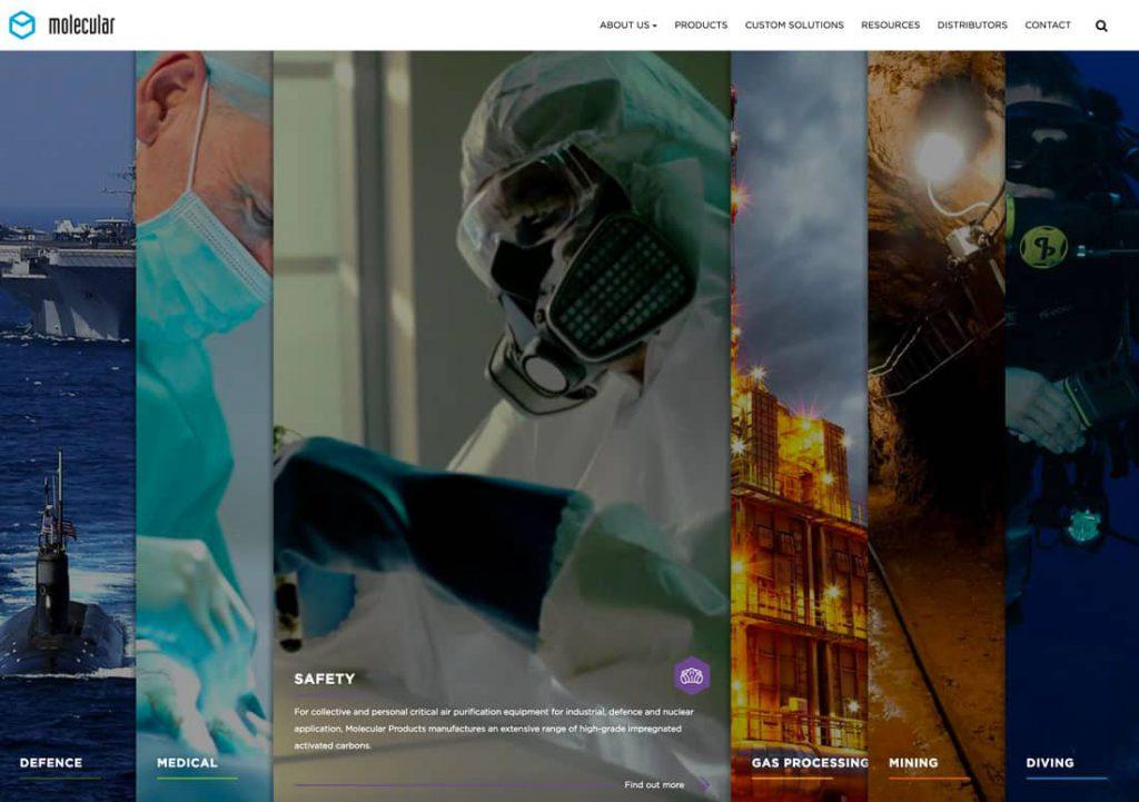 Пример сайта с разделённой главной страницей